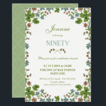 """90th Birthday Invitation, Ninetieth Vintage Style Invitation<br><div class=""""desc"""">This 90th birthday invitation is a vintage style, inspired by a postcard from the early 1900s. It features a frame of green, blue and pink clover flowers. The back has a complementary green background with a white quatrefoil pattern that can be changed or removed. The text can be customized to...</div>"""
