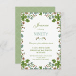 "90th Birthday Invitation, Ninetieth Vintage Style Invitation<br><div class=""desc"">This 90th birthday invitation is a vintage style, inspired by a postcard from the early 1900s. It features a frame of green, blue and pink clover flowers. The back has a complementary green background with a white quatrefoil pattern that can be changed or removed. The text can be customized to...</div>"