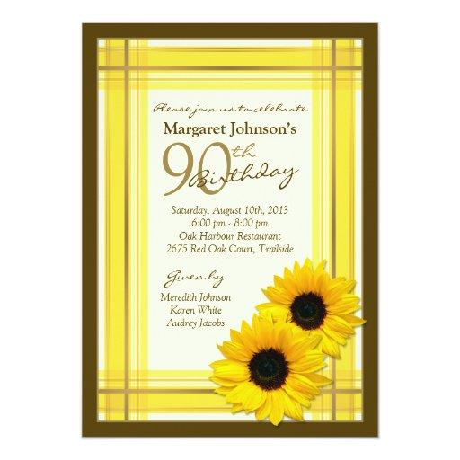 90th Birthday Invitation Sunflower Plaid Country Zazzle