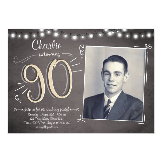 90th Birthday Invitation Vintage Ninety Birthday Zazzlecom