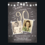 "90th Birthday Invitation Vintage Ninety Birthday<br><div class=""desc"">♥ A perfect way to invite your guests to this special birthday party!</div>"