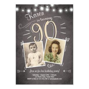 90th Birthday Invitation Vintage Ninety