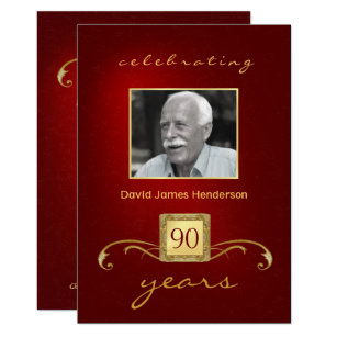 90 year old birthday invitations zazzle 90th birthday invitations monogram red gold filmwisefo