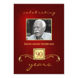 90th Birthday Invitations - Monogram Red & Gold