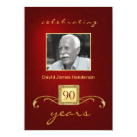 90th Birthday Invitations - Monogram Red & Gold