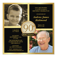 90th Birthday Invitations Then Now 2 Photos