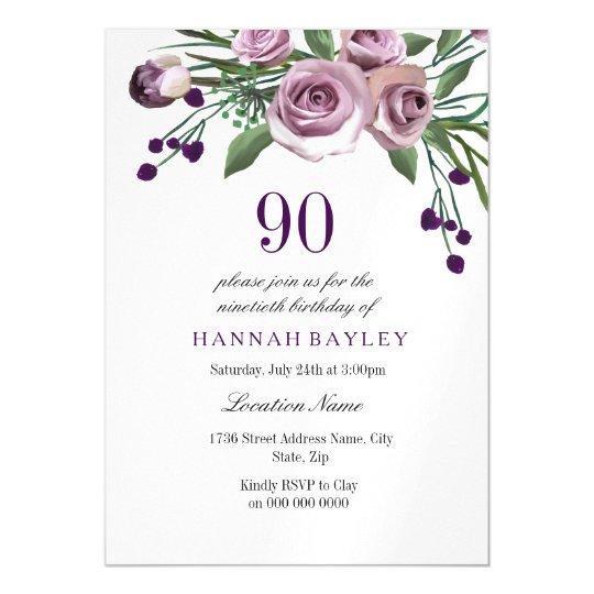 90th Birthday Invite Elegant Plum Purple Rose Magnetic Invitation