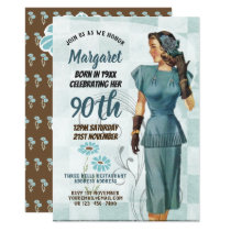 90th Birthday Invites Vintage Retro Art Deco 3