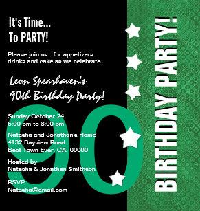90th Birthday Kelly Green Funny D90B4 Invitation
