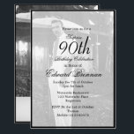 """90th Birthday Male Stylish Photo Monogram Birthday Invitation<br><div class=""""desc"""">A 90th Birthday Male Personal Monogram Birthday Invitation in elegant Black and White. The age can be changed for any age not just 90. A photo is able to be on the front and the reverse of the personal invitation. The information is easily changed to your own custom information with...</div>"""