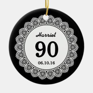 90th Birthday Memento Black White Lace L34K Double-Sided Ceramic Round Christmas Ornament