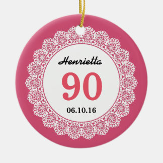 90th Birthday Memento Pink White Lace L34L Double-Sided Ceramic Round Christmas Ornament