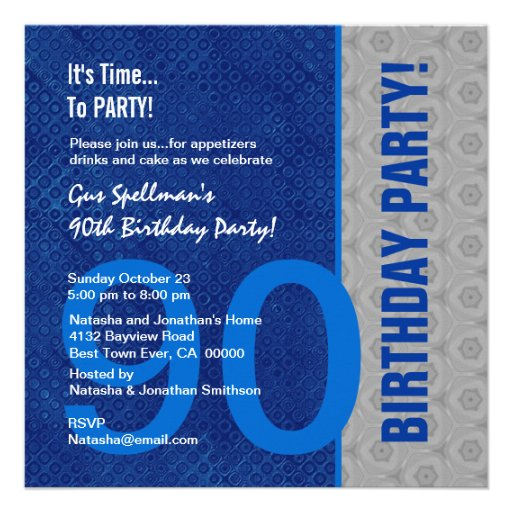 90th Birthday Modern Blue and Silver S306 Personalized Invitation