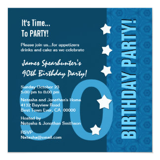 "90th Birthday Modern Hues of Blue Funny D90B 5.25"" Square Invitation Card"