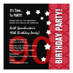 90th Birthday Modern Red And Black Funny D90A Invitation