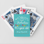 "90th Birthday Most Fabulous Colorful Gem Turquoise Bicycle Playing Cards<br><div class=""desc"">Celebrate the milestone birthday of your favorite senior citizen with this fun gift reminding them of how fabulous they are. White and grey lettering on deep turquoise background. Colorful diamond-cut gems in rainbow tones serve as accent. Customize with names, initials or other text. This series is in increments of 5...</div>"