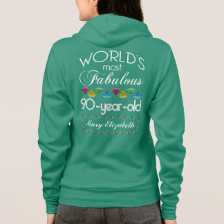 90th Birthday Most Fabulous Colorful Gem Turquoise Hoodie