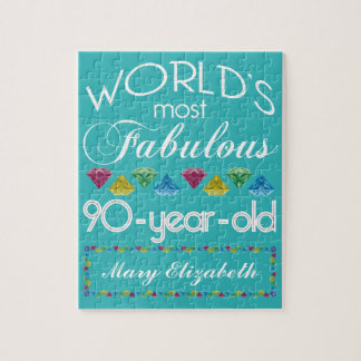 90th Birthday Most Fabulous Colorful Gem Turquoise Jigsaw Puzzle