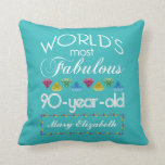 90th Birthday Most Fabulous Colorful Gem Turquoise Pillow