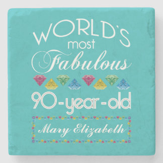 90th Birthday Most Fabulous Colorful Gem Turquoise Stone Coaster