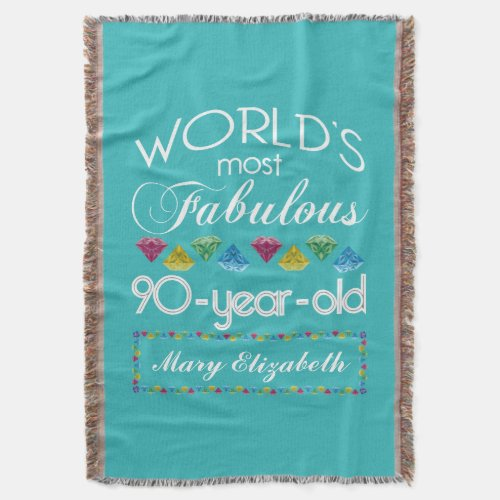 Blessed By God For 90 Years Floral Fleece Blanket 90th Birthday Most Fabulous Personalized Throw