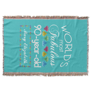 90th Birthday Most Fabulous Colorful Gem Turquoise Throw