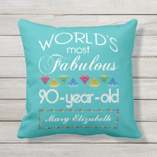 90th Birthday Most Fabulous Colorful Gem Turquoise Throw Pillow
