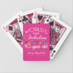 "90th Birthday Most Fabulous Colorful Gems Pink Bicycle Playing Cards<br><div class=""desc"">Celebrate the milestone birthday of your favorite senior citizen with this fun gift reminding them of how fabulous they are. White and grey lettering on deep pink background. Colorful diamond-cut gems in rainbow tones serve as accent. Customize with names, initials or other text. This series is in increments of 5...</div>"