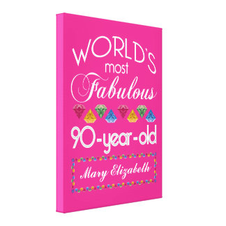90th Birthday Most Fabulous Colorful Gems Pink Canvas Print