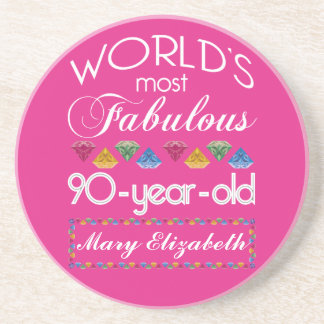90th Birthday Most Fabulous Colorful Gems Pink Coaster