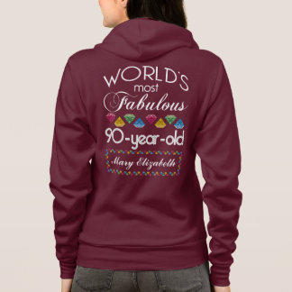 90th Birthday Most Fabulous Colorful Gems Pink Hoodie