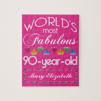 90th Birthday Most Fabulous Colorful Gems Pink Jigsaw Puzzle