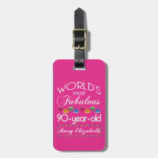 90th Birthday Most Fabulous Colorful Gems Pink Travel Bag Tags