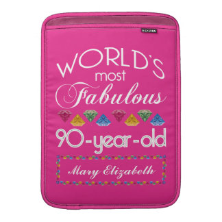 90th Birthday Most Fabulous Colorful Gems Pink MacBook Sleeve