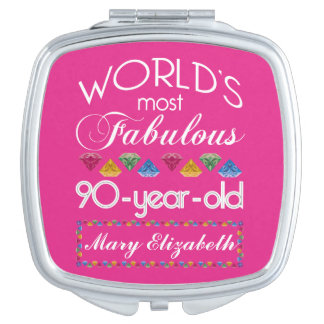 90th Birthday Most Fabulous Colorful Gems Pink Makeup Mirror