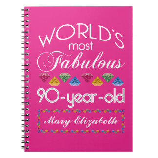 90th Birthday Most Fabulous Colorful Gems Pink Notebook