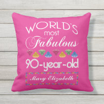 90th Birthday Most Fabulous Colorful Gems Pink Outdoor Pillow