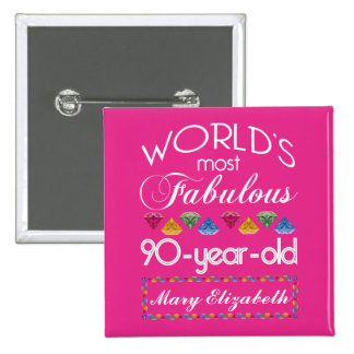 90th Birthday Most Fabulous Colorful Gems Pink Pinback Button
