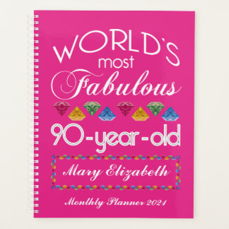 90th Birthday Most Fabulous Colorful Gems Pink Planner