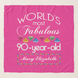 90th Birthday Most Fabulous Colorful Gems Pink Scarf
