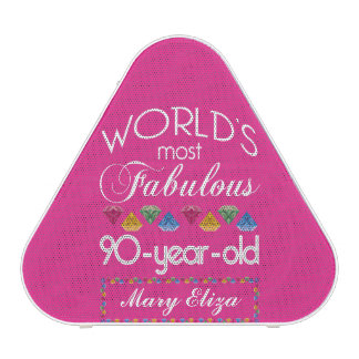 90th Birthday Most Fabulous Colorful Gems Pink Speaker