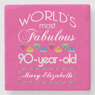 90th Birthday Most Fabulous Colorful Gems Pink Stone Coaster