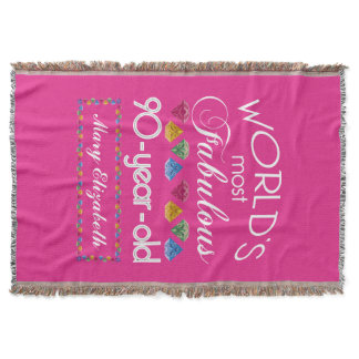 90th Birthday Most Fabulous Colorful Gems Pink Throw