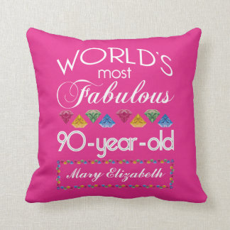 90th Birthday Most Fabulous Colorful Gems Pink Throw Pillow