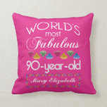 90th Birthday Most Fabulous Colorful Gems Pink Throw Pillows