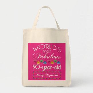 90th Birthday Most Fabulous Colorful Gems Pink Tote Bag