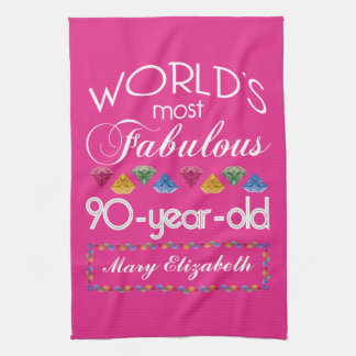 90th Birthday Most Fabulous Colorful Gems Pink Towel