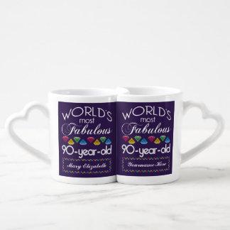 90th Birthday Most Fabulous Colorful Gems Purple Coffee Mug Set