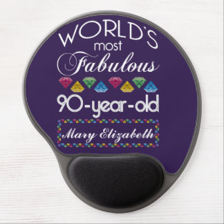 90th Birthday Most Fabulous Colorful Gems Purple Gel Mouse Pad