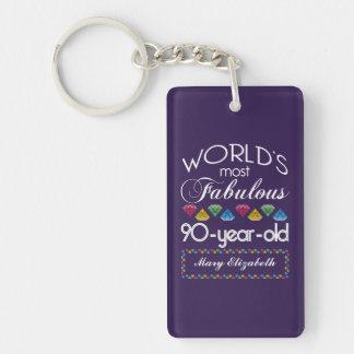 90th Birthday Most Fabulous Colorful Gems Purple Double-Sided Rectangular Acrylic Keychain
